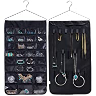 MISSLO Closet Jewelry Hanging Non-Woven Organizer Holder 30 Pockets 17 Hook and Loops with Hanger - Black