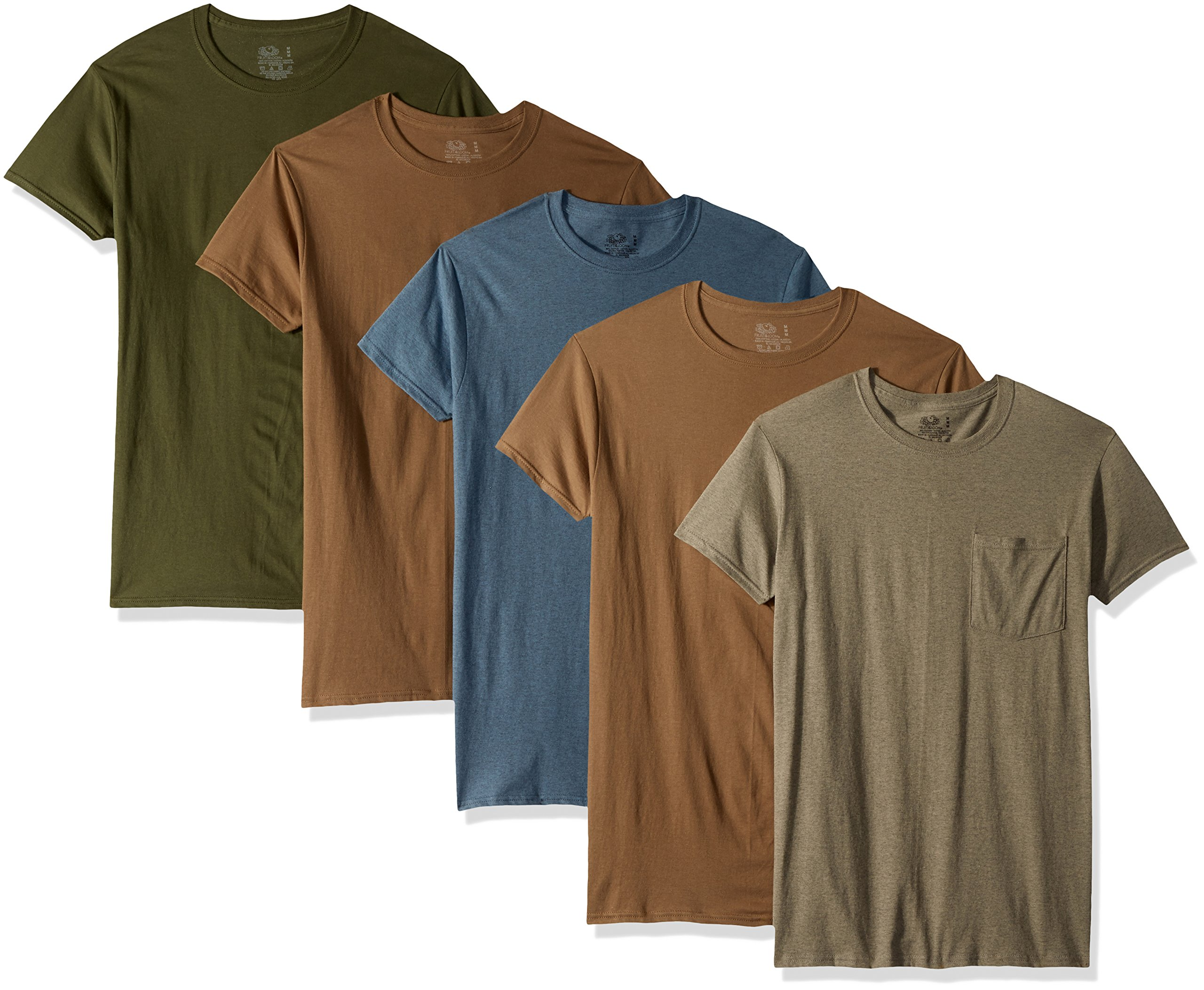 Fruit of the Loom Men's 5-Pack Assorted Pocket T-Shirt, Assorted Earth Tones (5 Pack), X-Large