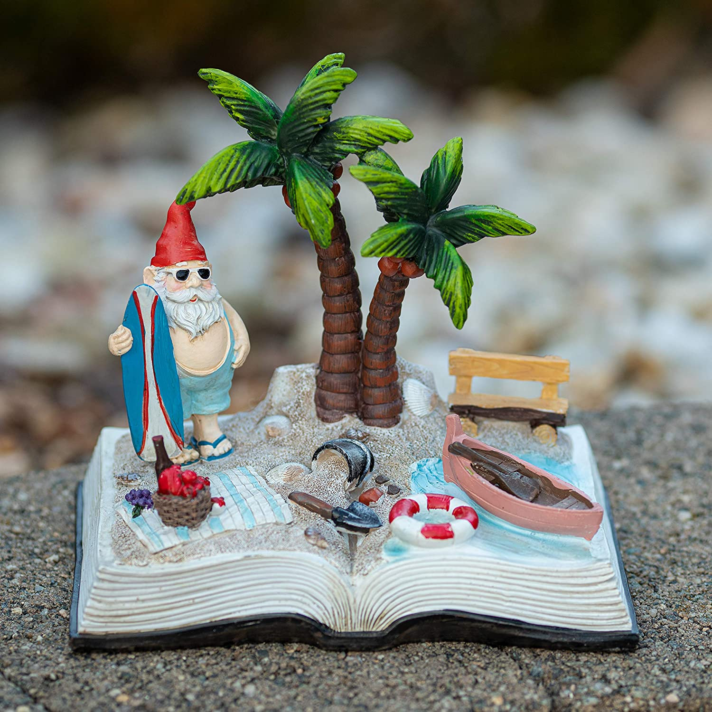 VP Home Surfing Beach Gnome Story Book Solar Powered LED Outdoor Decor Garden Light