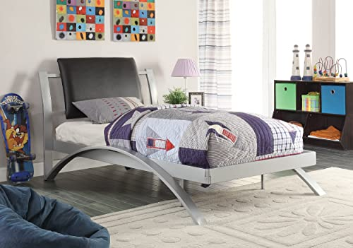 Coaster Leclair Twin Metal Platform Bed Black and Silver Black/Silver/Contemporary/Twin