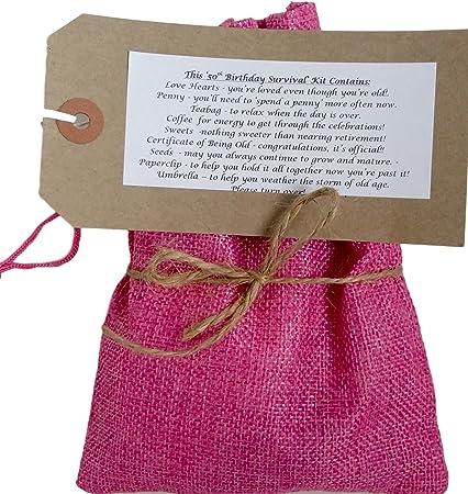 50th Kit de supervivencia de cumpleaños rosa – perfecto regalo para cumpleaños de 50 años. Divertido, novedad, regalo divertido, color rosa: Amazon.es: Oficina y papelería