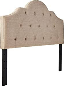 "Ravenna Home Haraden Modern Scroll-Topped Button-Tufted King Headboard, 82""W, Beige"