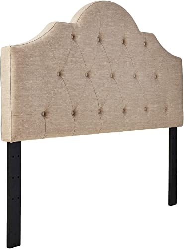 Ravenna Home Haraden Modern Scroll-Topped Button-Tufted King Headboard