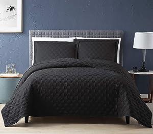 EXQ Home Quilt Set Twin Size Black 2 Piece,Lightweight Microfiber Coverlet Modern Style Onion Flower Pattern Bedspread Set