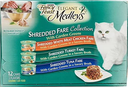 Purina Fancy Feast Elegant Medleys Shredded Fare Collection Gourmet Cat Food 3 Flavors – 12 CT