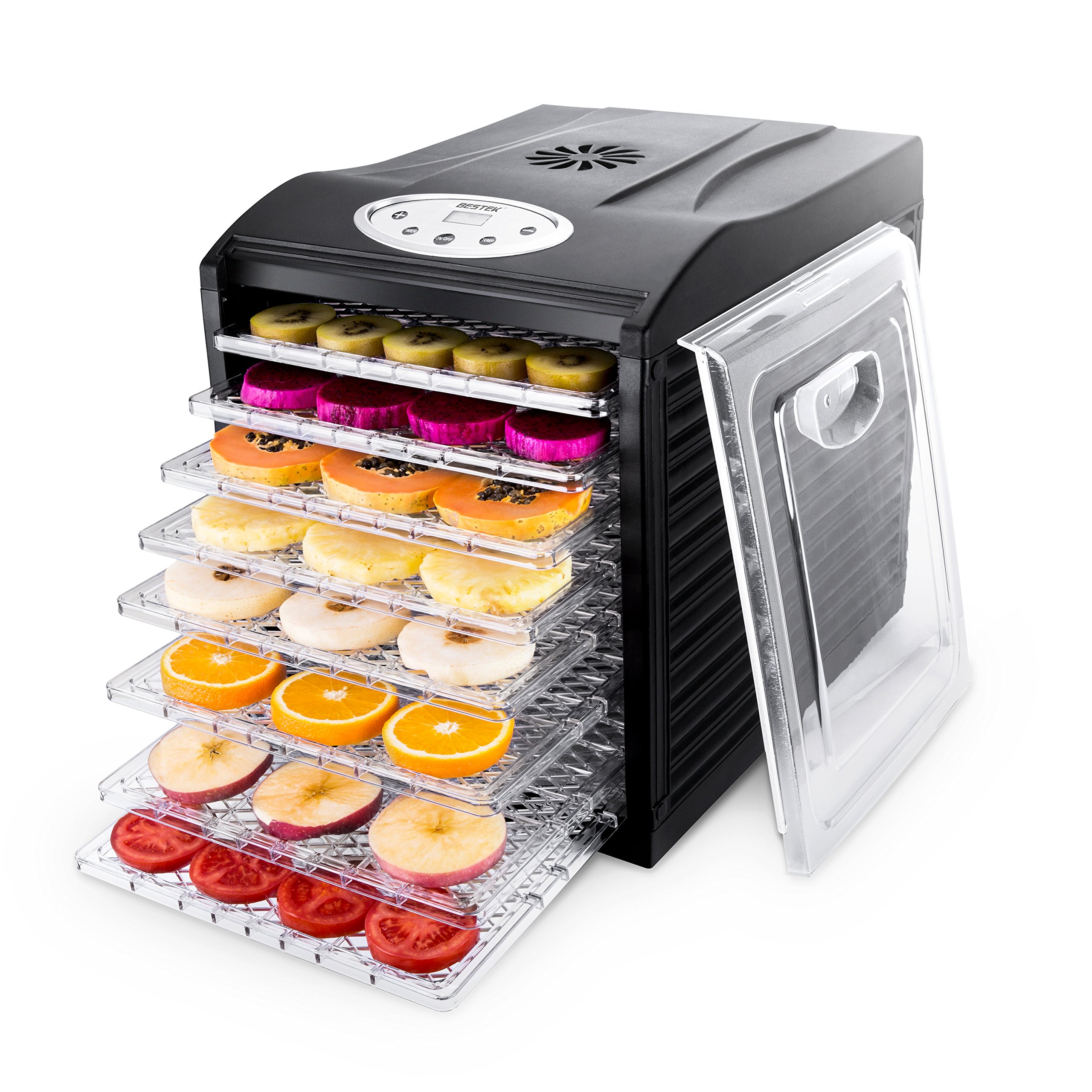 Food Dehydrator Machine by BESTEK, 9 Trays Quiet Fruit Dryer/ Jerky Maker Programmable with Timer, Temperature Control