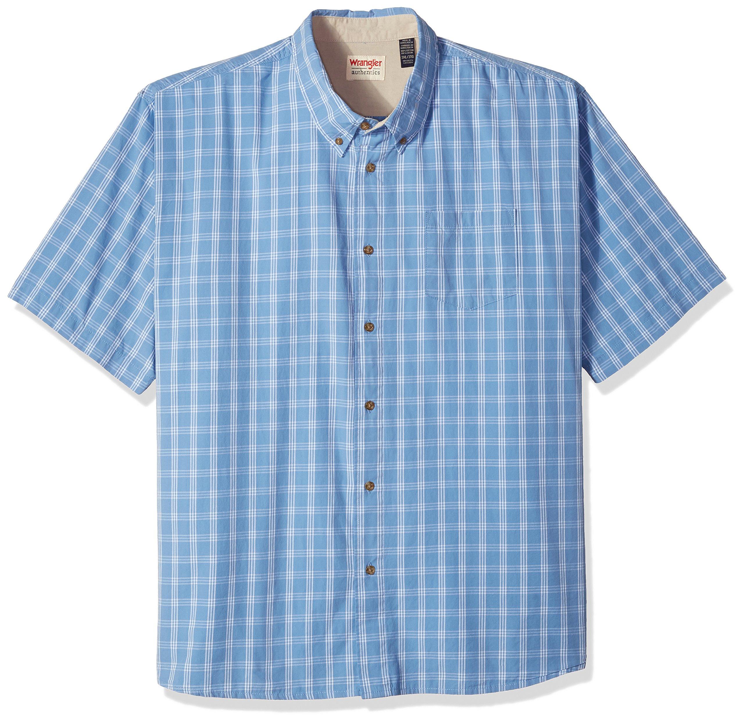 Wrangler Authentics Men's Big & Tall Short Sleeve Plaid Woven Shirt, Rivera, 3XL