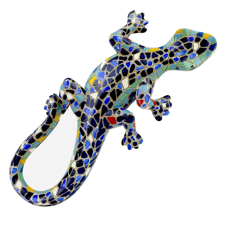 Blue Mosaic Finish Wall Lizard Garden Ornament Outdoor Feature Gardens2you 7192190A