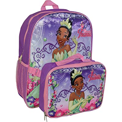 "Princess Girl's Tiana 16"" Backpack W/ Detachable Lunch Box: Toys & Games"