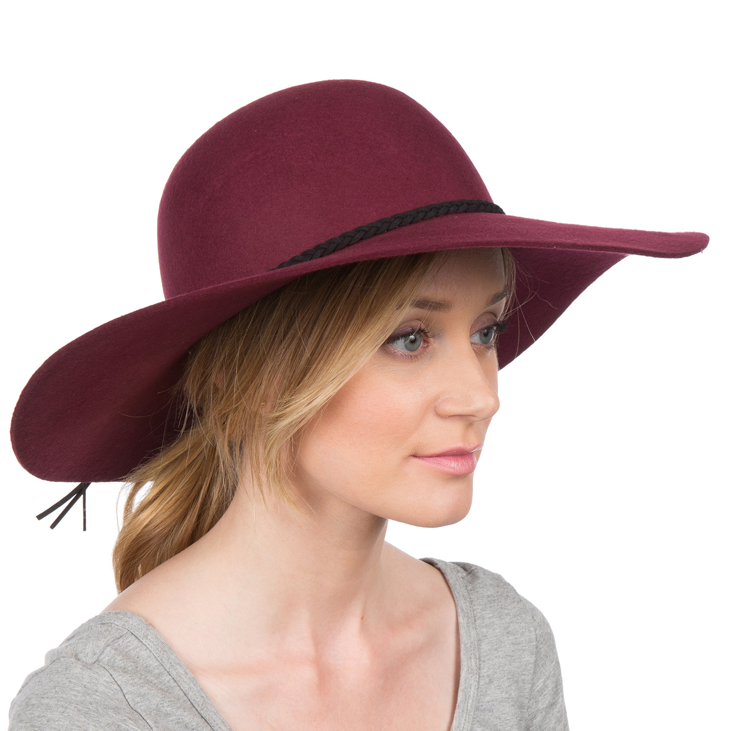 Sakkas 2041SS Greta Vintage Style Wool Floppy Hat - Burgundy - One Size by Sakkas (Image #1)