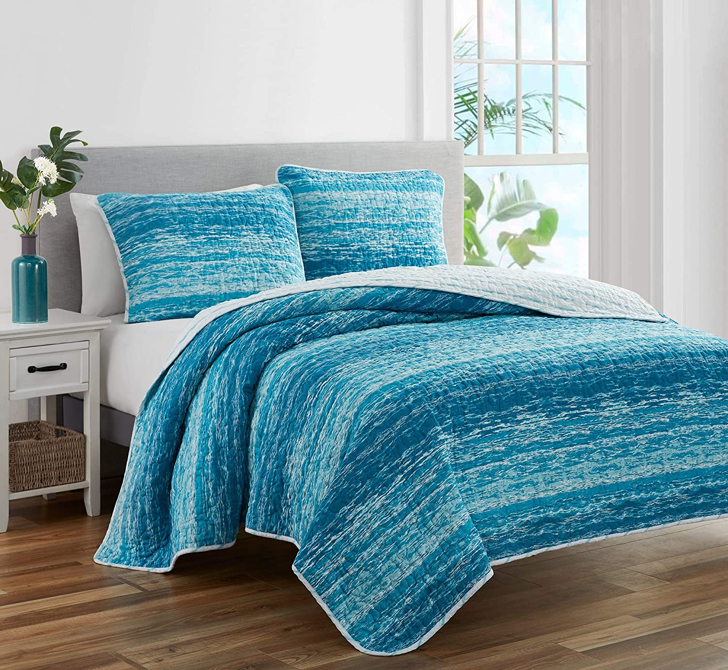 MYTEX LLC Ocean 3-Piece Prewashed Quilt Set Featuring a Coastal Theme,Natural Puckered/Textured Look, and Unique Watercolor Stripe, Blue, King