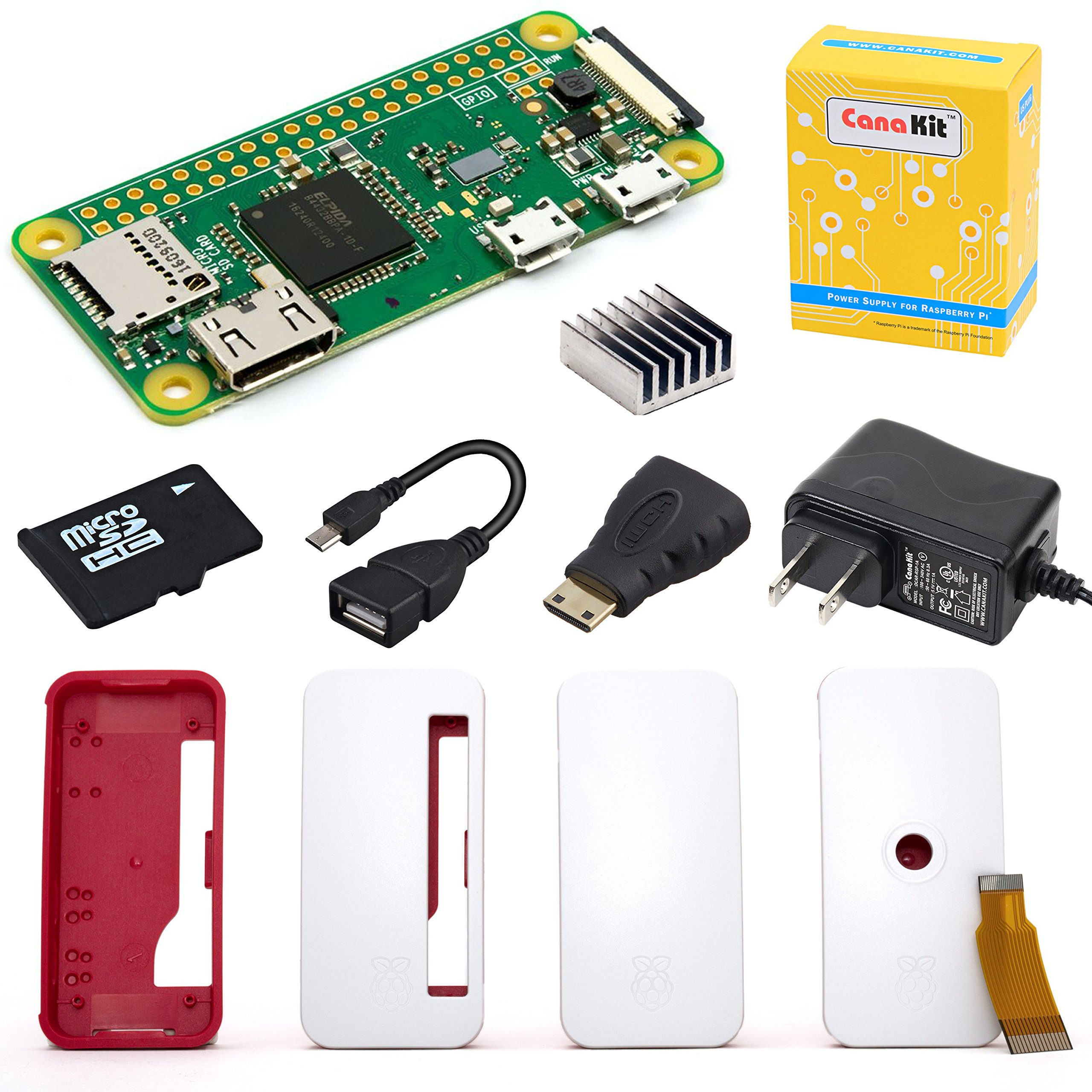 CanaKit Raspberry Pi Zero W (Wireless) Starter Kit with Official Case - 8 GB Edition