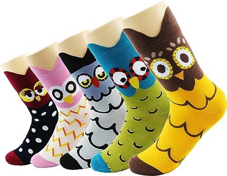 CityComfort Calcetines Mujer Invierno - Pack De 5 Calcetines De Algodón Suave Cómodo Para Niña Y Mujer Adulto Unisex Talla 36-40 (Multicolor búho): Amazon.es: Ropa y accesorios