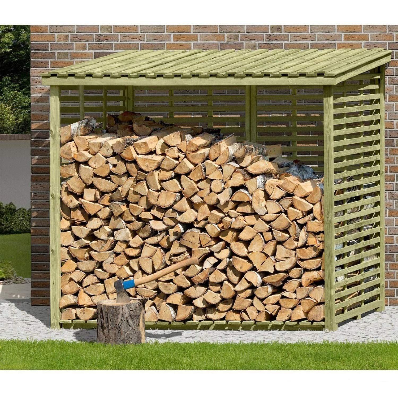 Brennholzregal  Kaminholzregal XXL Brennholzregal mit Rückwand für 3,8 m³ Holz von ...