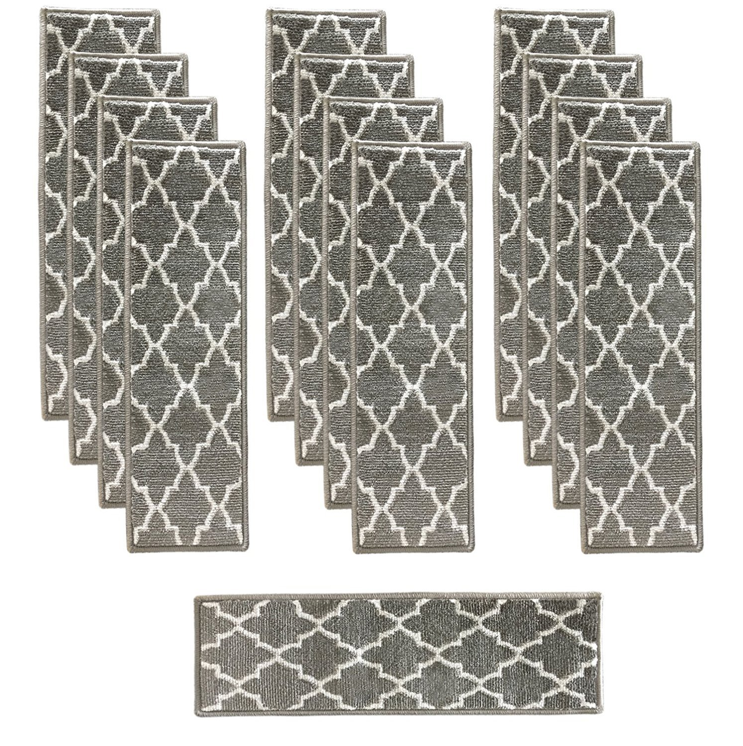 Sultansville Stair Treads 9 inch by 28 inch Trellisville Collection Trellis Design Vibrant and Soft Stair Treads, Grey & White, Pack of 13 [100% Polypropylene]