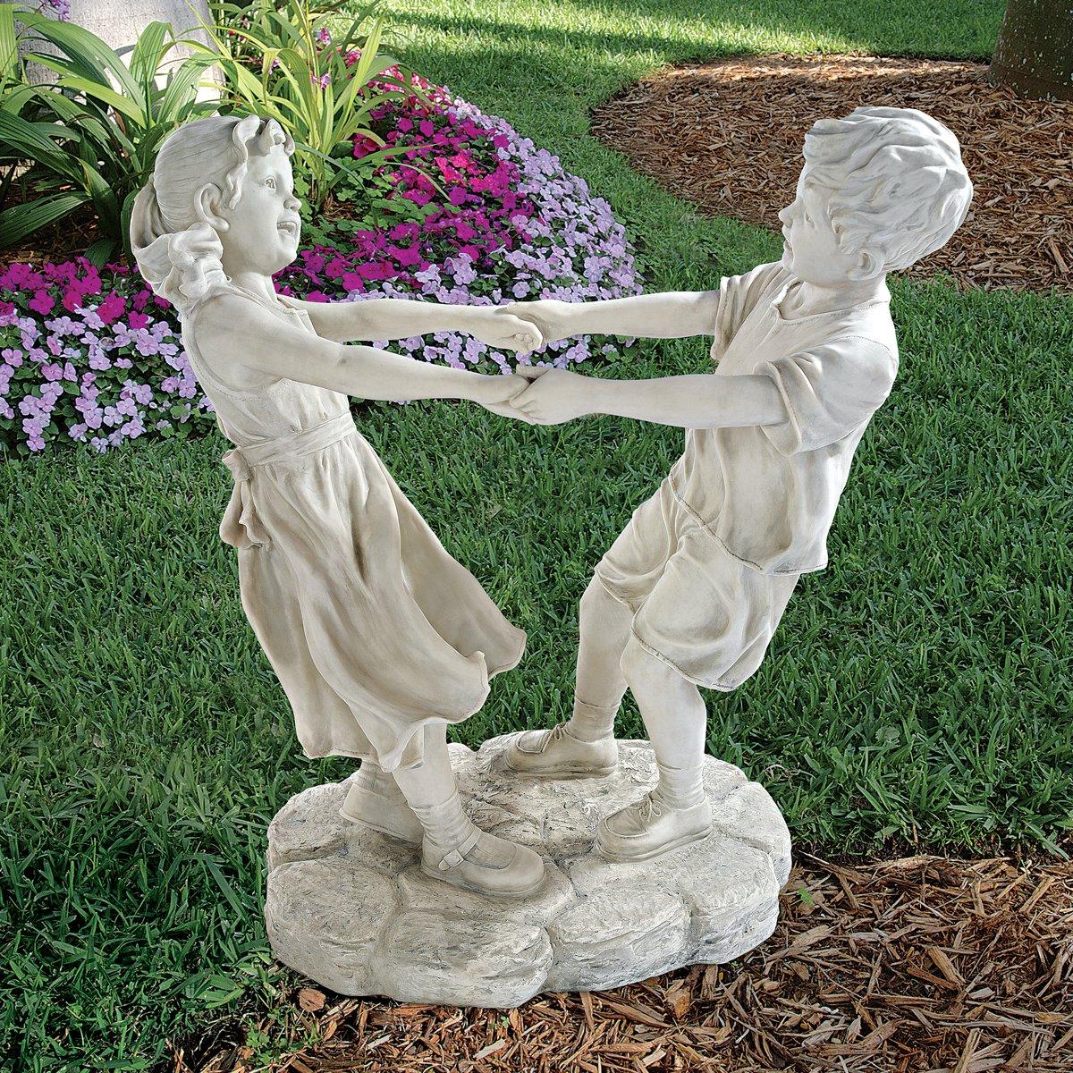 Amazon.com : Design Toscano Little Girl And Boy Dancing Garden Statue,  Grand, Antique Stone : Outdoor Statues : Garden U0026 Outdoor