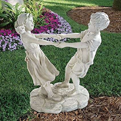Design Toscano Little Girl And Boy Dancing Garden Statue, Grand, Antique  Stone
