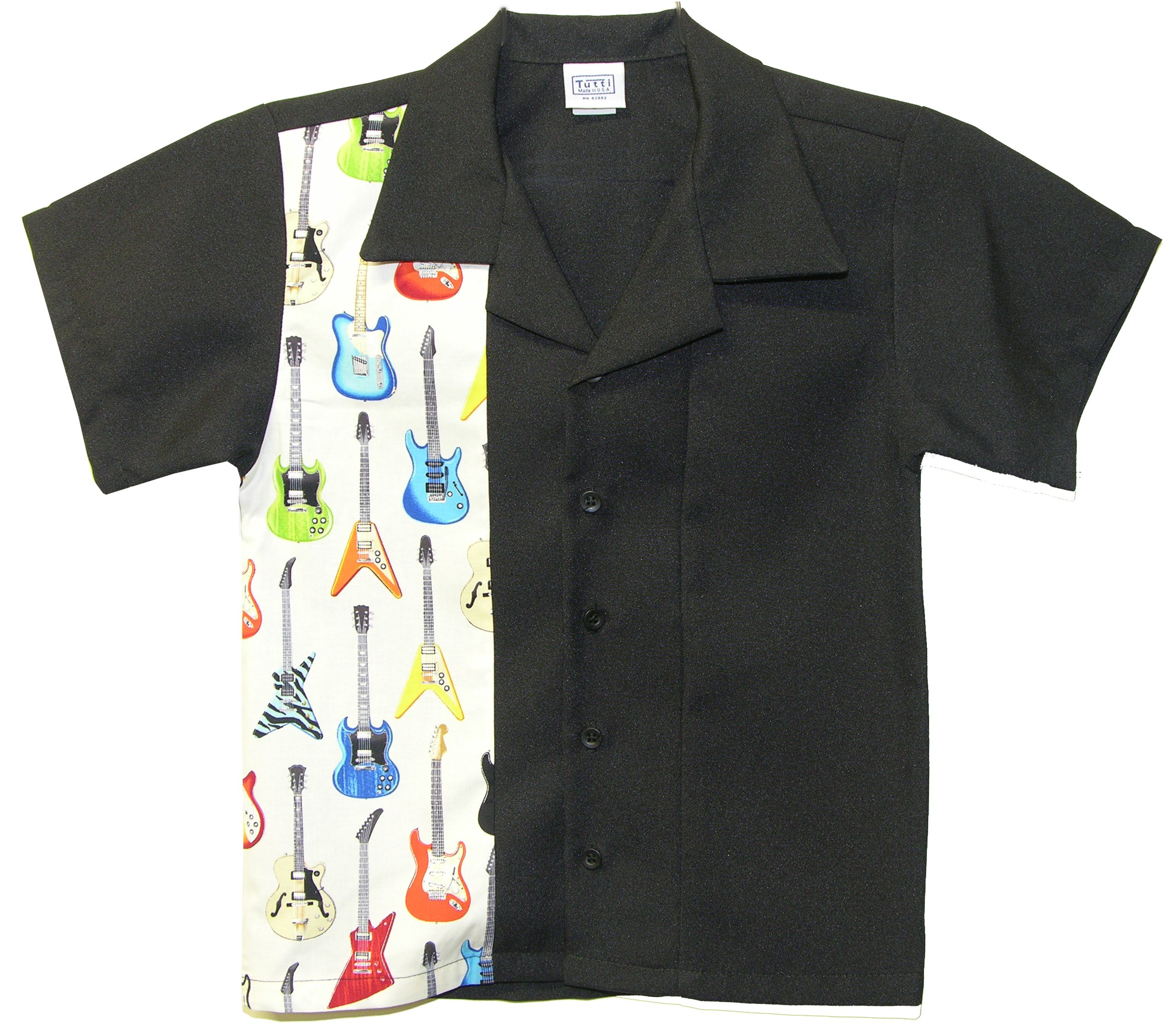 Tutti Kids Bowling Shirt Child Size Electric Guitars Rock n Roll Design (Small 2T-3T Yrs Old)