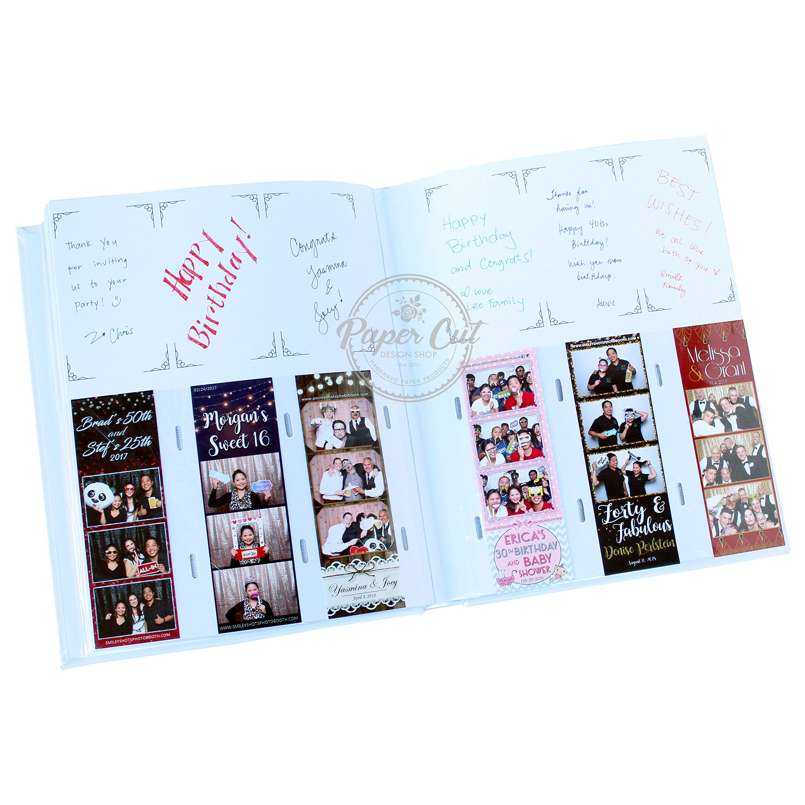 Paper Cut Design Shop Photo Booth Album Slip in Photo Booth Album Slip-in Plastic Slots with Storage Box Elegant Leatherette Album 2x6 Photos - White by Paper Cut Design Shop