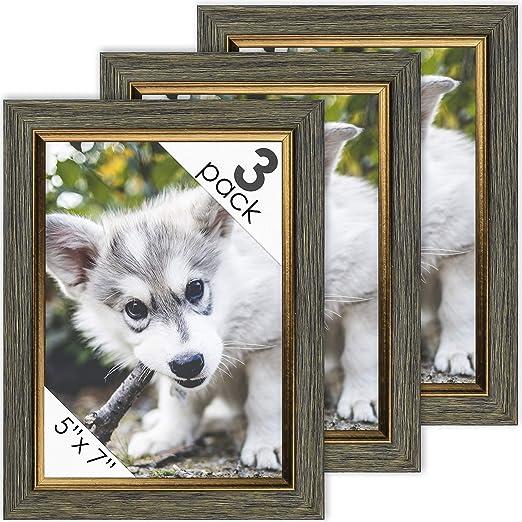 DecorRack Marcos de Fotos de 12,7 x 17,8 cm, Marco de Fotos rústico para Documentos, certificados, bebés, Impresiones de Familia, Gatos y Perros, para Pared o Escritorio con diseño de Oro Gris: