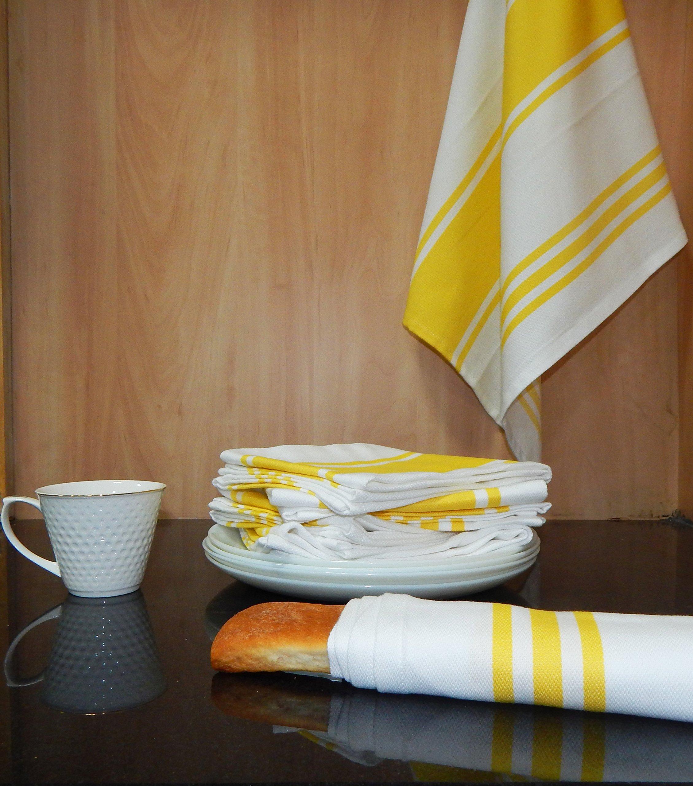 Vintage Towels: Dish Kitchen Towels Vintage Striped 100% Cotton Tea Towel