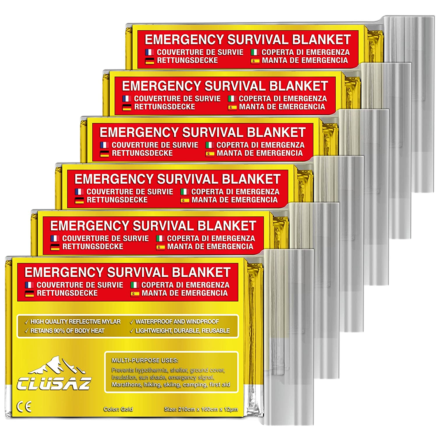 Large 210cm x 160cm Survival Thermal Protection for First Aid Kit and Rescue Bag made of Reflective Mylar to Prevent Hypothermia CLUSAZ 6 Pack Emergency Foil Blanket XL