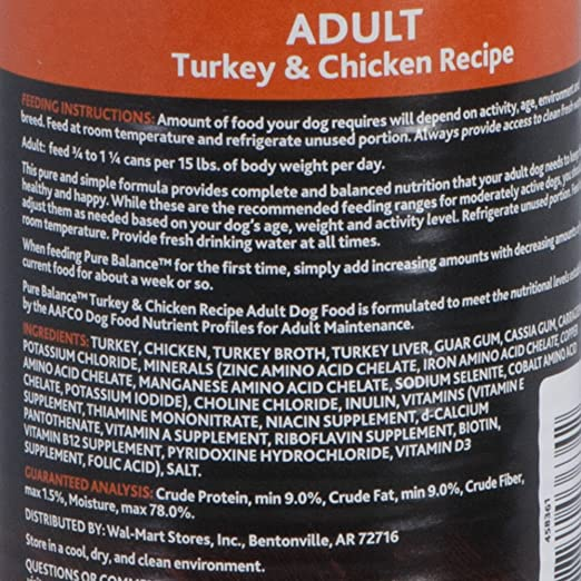Pure Balance 95 Percent Wet Dog Food (12.5 Oz, Pack of 24) (Turkey & Chicken): Amazon.com: Grocery & Gourmet Food