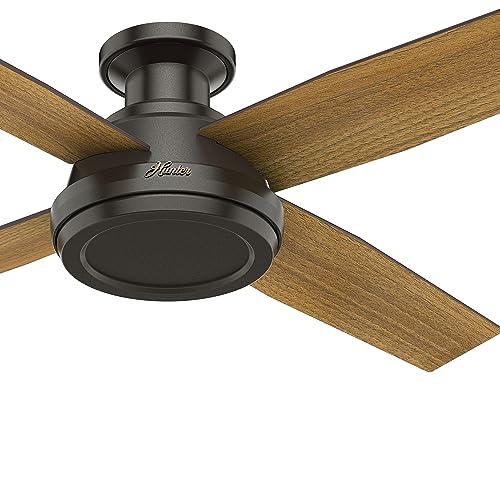 Hunter Fan 52 inch Low Profile Modern Ceiling Fan with Remote Control, Noble Bronze Renewed
