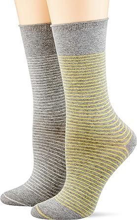 Esprit Socken Fine Stripe 2 Pack Baumwolle Damen Schwarz Weiß Viele Weitere Farben Verstärkte Damensocken Mit Muster Atmungsaktiv Gestreift Bunt Dünn Im Multipack 2 Paar Bekleidung