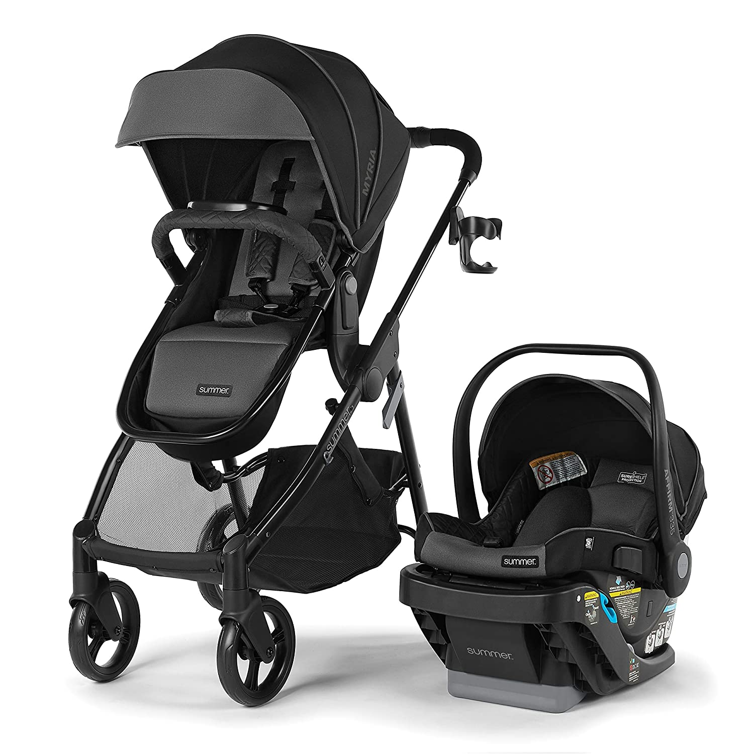 Summer Myria DLX Modular Travel System with The Affirm 335 DLX Rear-Facing Infant Car Seat, Slate Gray – Convenient Stroller and Car Seat with Advanced Safety Features