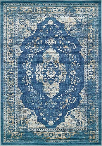 A2Z Rug Navy Blue 7 x 10 FT St. Martin Collection Area Rug – Vintage Inspired Overdyed Perfect for Living Dinning Room and Bedroom Rugs, Interior Modern Floor Carpet Design