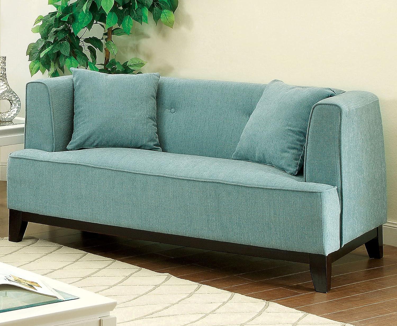Furniture of America Elsa Neo-Retro Love Seat, Light Blue