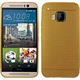Heartly New Retro Dotted Design Hole Soft TPU Matte Bumper Back Case Cover For HTC One M9 - Hot Gold