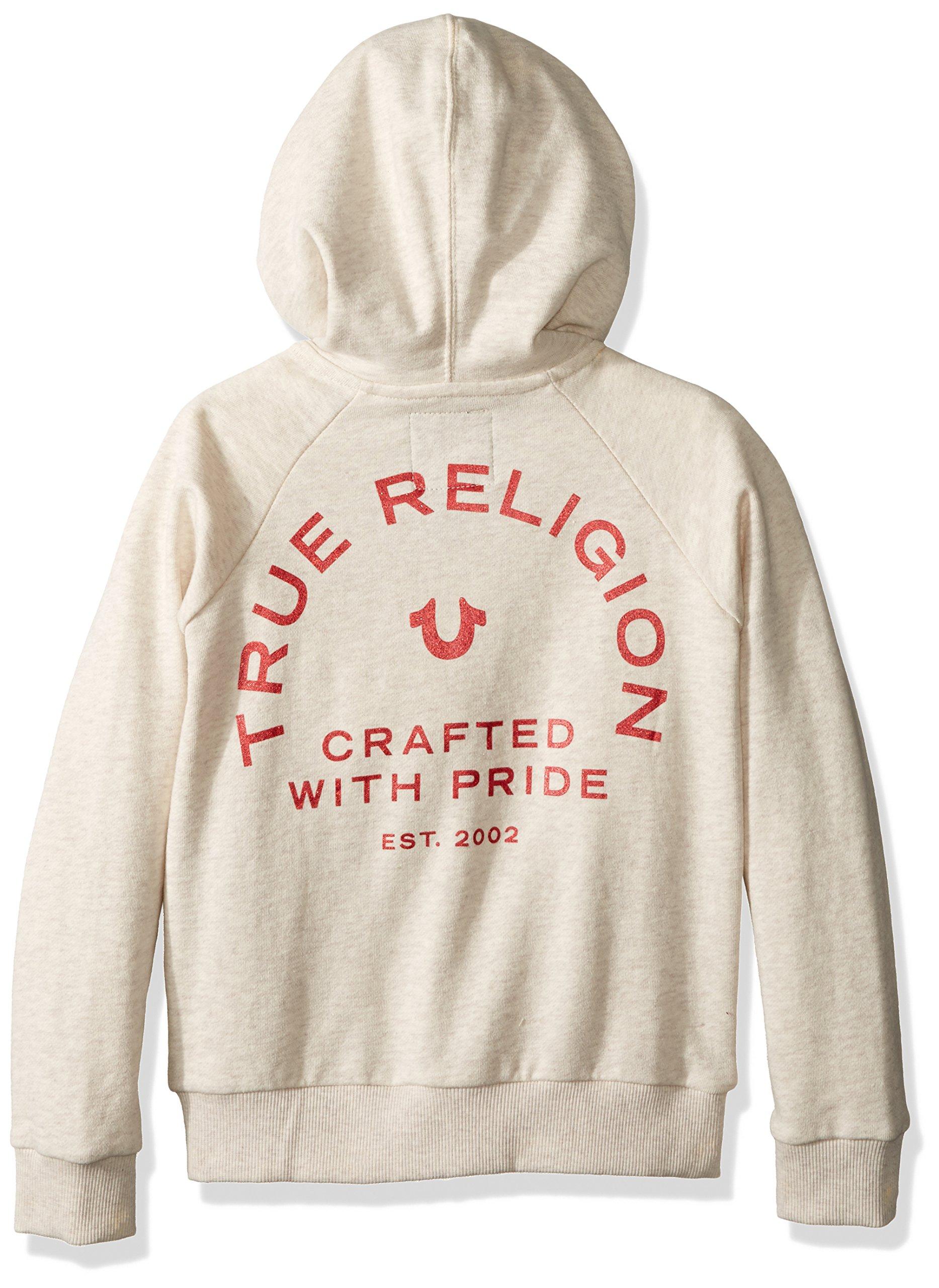 True Religion Girls' Logo Hoodie, Oatmeal, 5 by True Religion (Image #2)