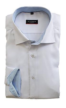 ETERNA Hemd Herren, Weiß Modern Fit mit Struktur, Bügelfrei, Kragen und  Manschette ausgeputzt