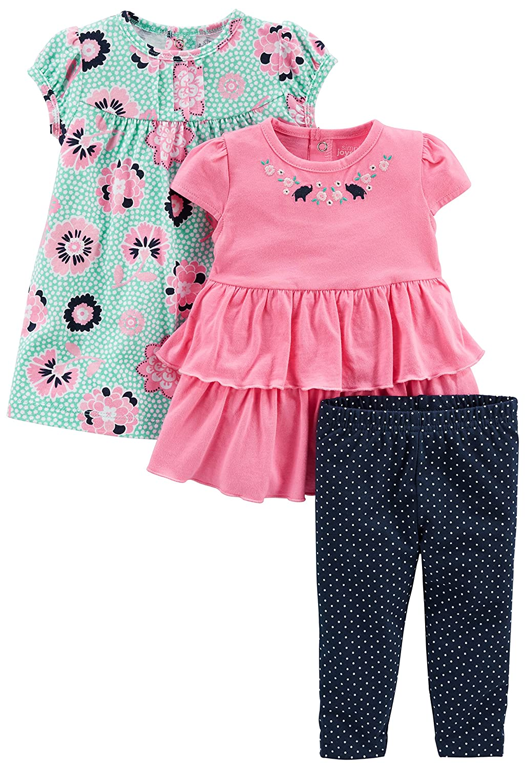 and Pants Playwear Set Simple Joys by Carters Baby Girls 3-Piece Short-Sleeve Top Dress