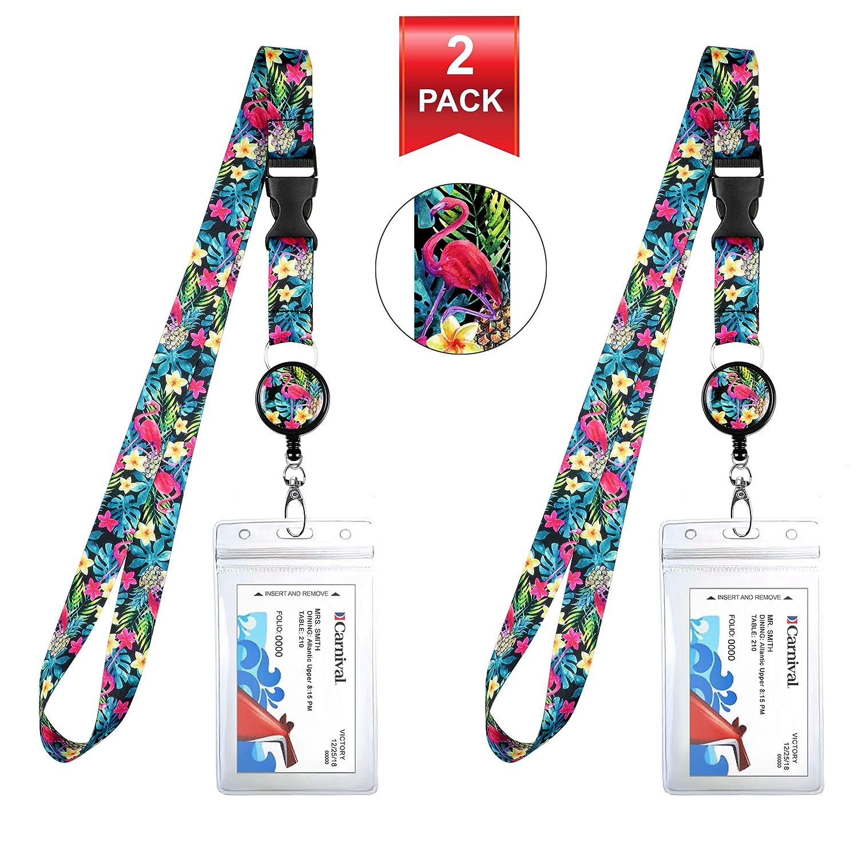 Lupo e la luna Lanyard con porta badge in pelle PU con 3 tasche per schede clip di sicurezza Torcia portachiavi moschettone.