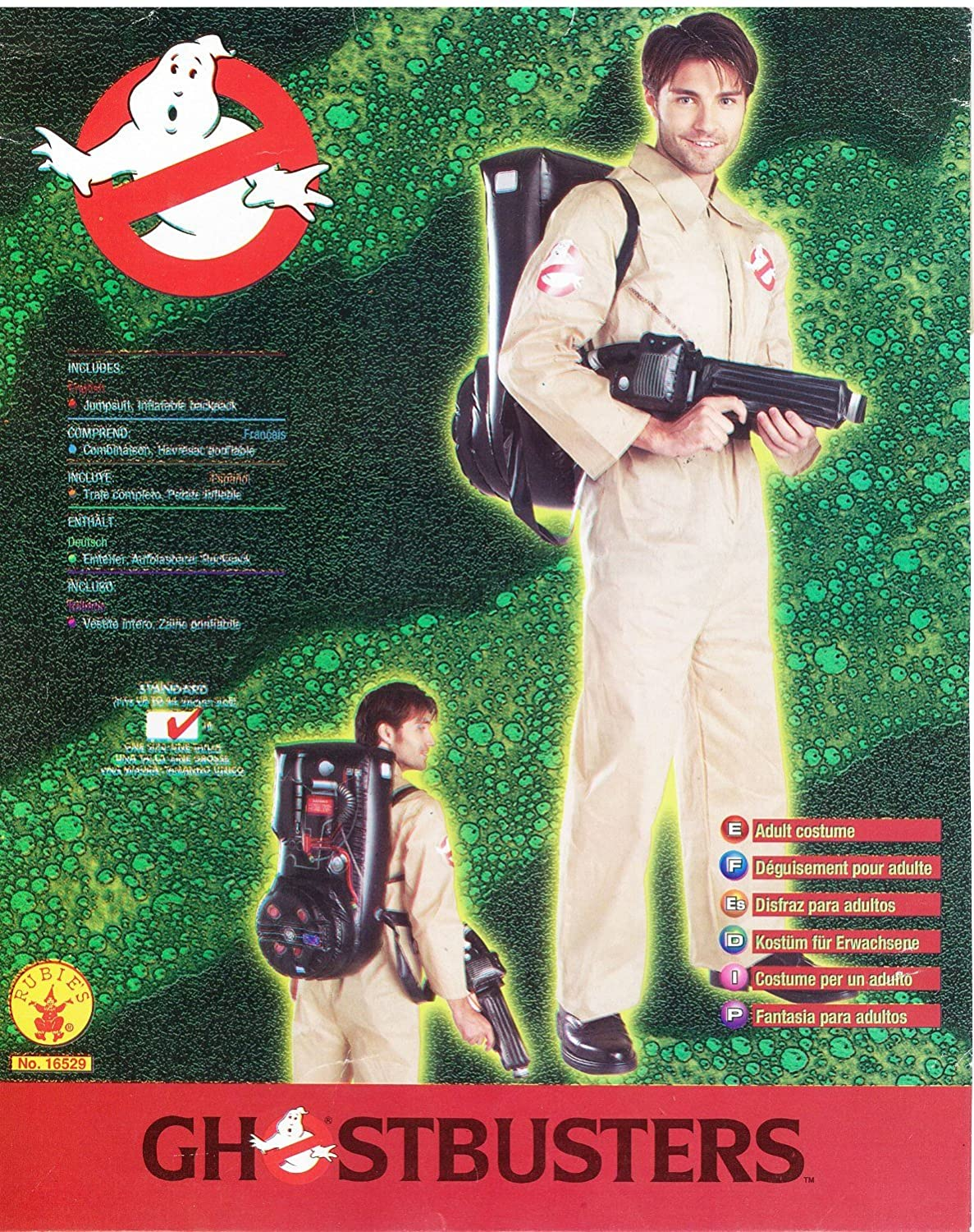 Rubie's Ghostbusters Costume With Inflatable Backpack Tan Adult Standard Rubies Costumes - Apparel 16529