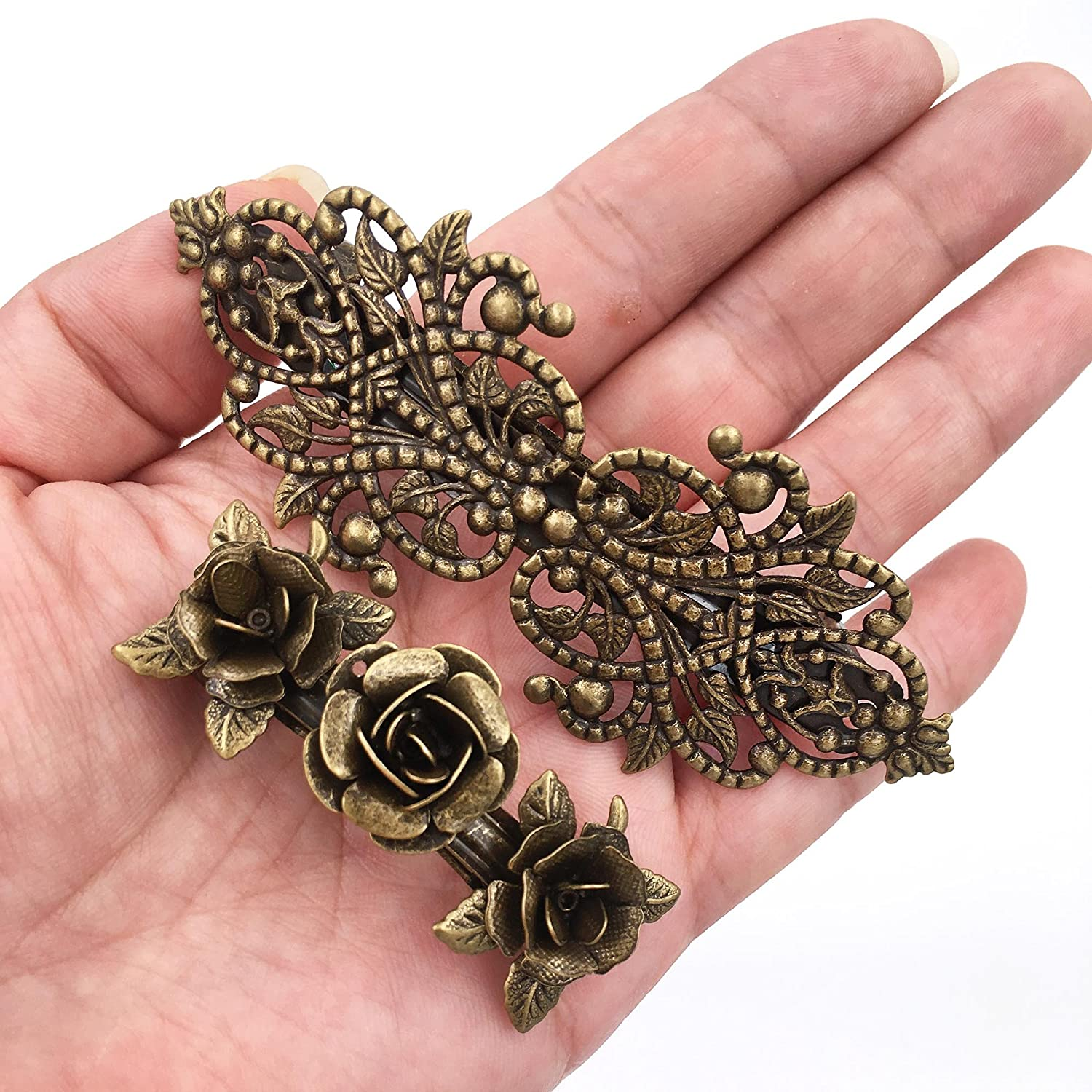Round Antique 85mm Bronze Clips with Cabochon Settings Fits 20mm C414 5 Hair Clips 50p Each! 5 Iron Based Alloy Barrette Hair Clips