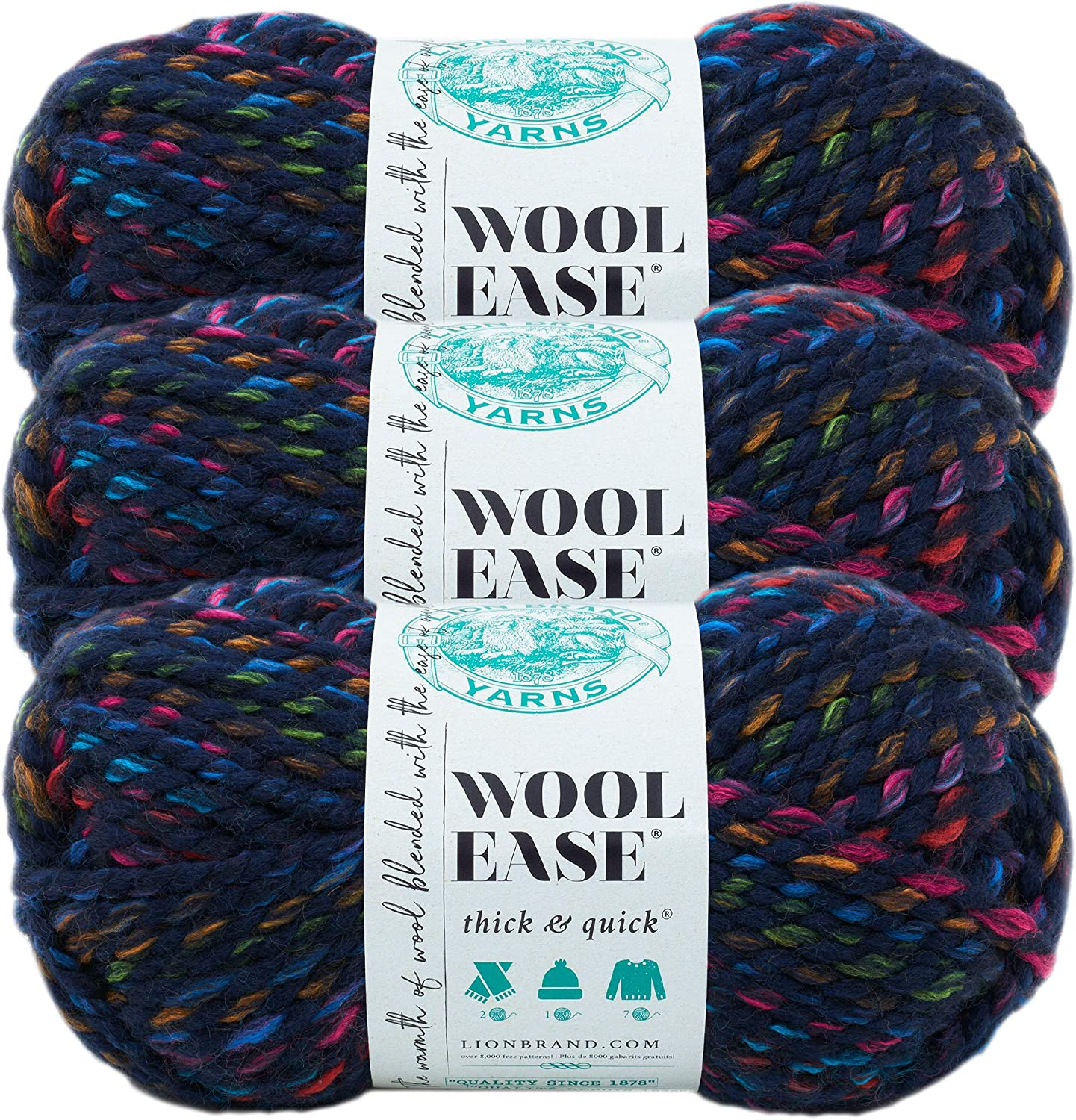 (3 Pack) Lion Brand Yarn 640-617 Wool-Ease Thick and Quick Yarn, City Lights