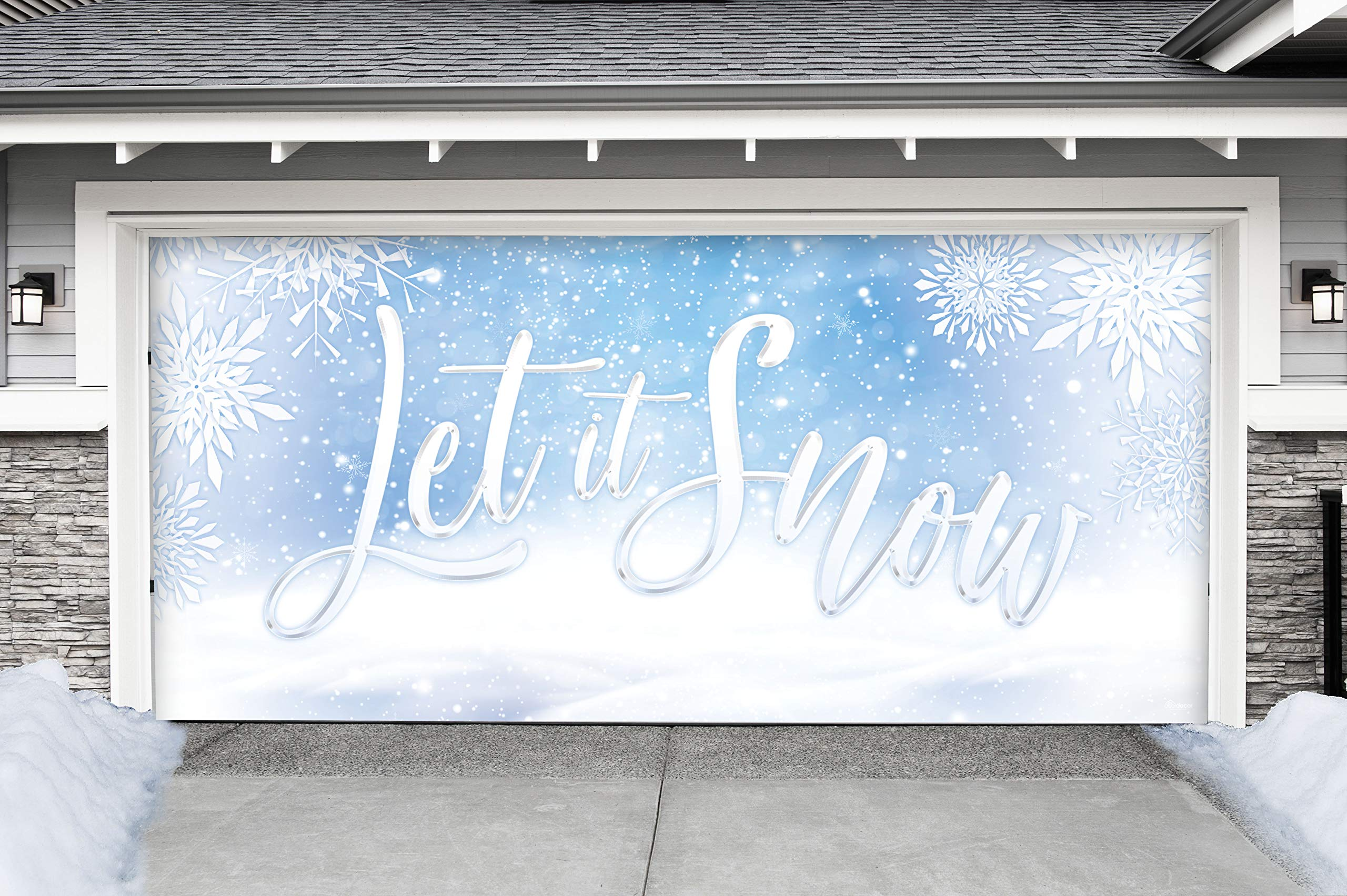 Victory Corps Let it Snow - Holiday Garage Door Banner Mural Sign Décor 7'x 16' Car Garage - The Original Holiday Garage Door Banner Decor