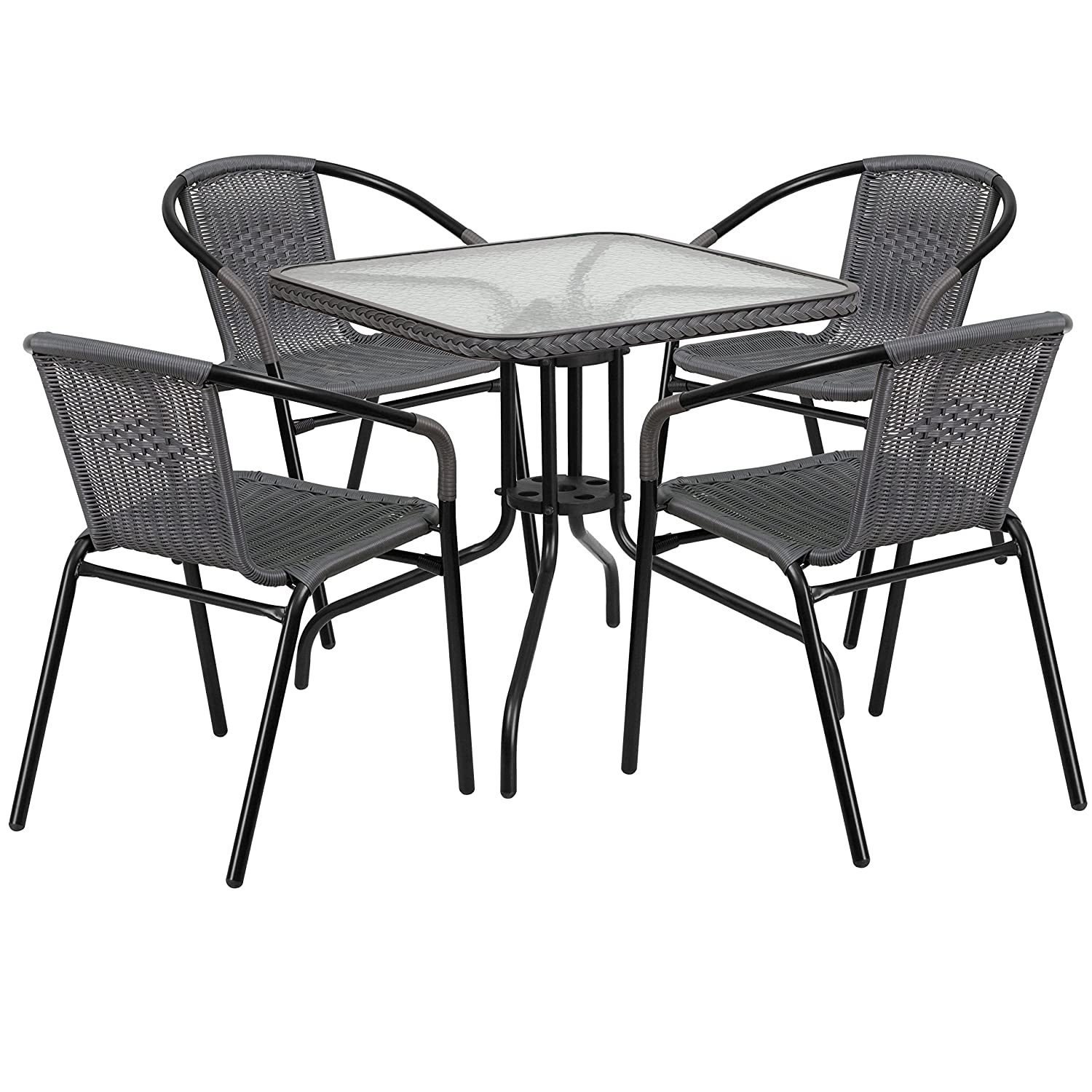 38d11d24f3 Amazon.com - Flash Furniture 28'' Square Glass Metal Table with Black  Rattan Edging and 4 Black Rattan Stack Chairs - Table & Chair Sets