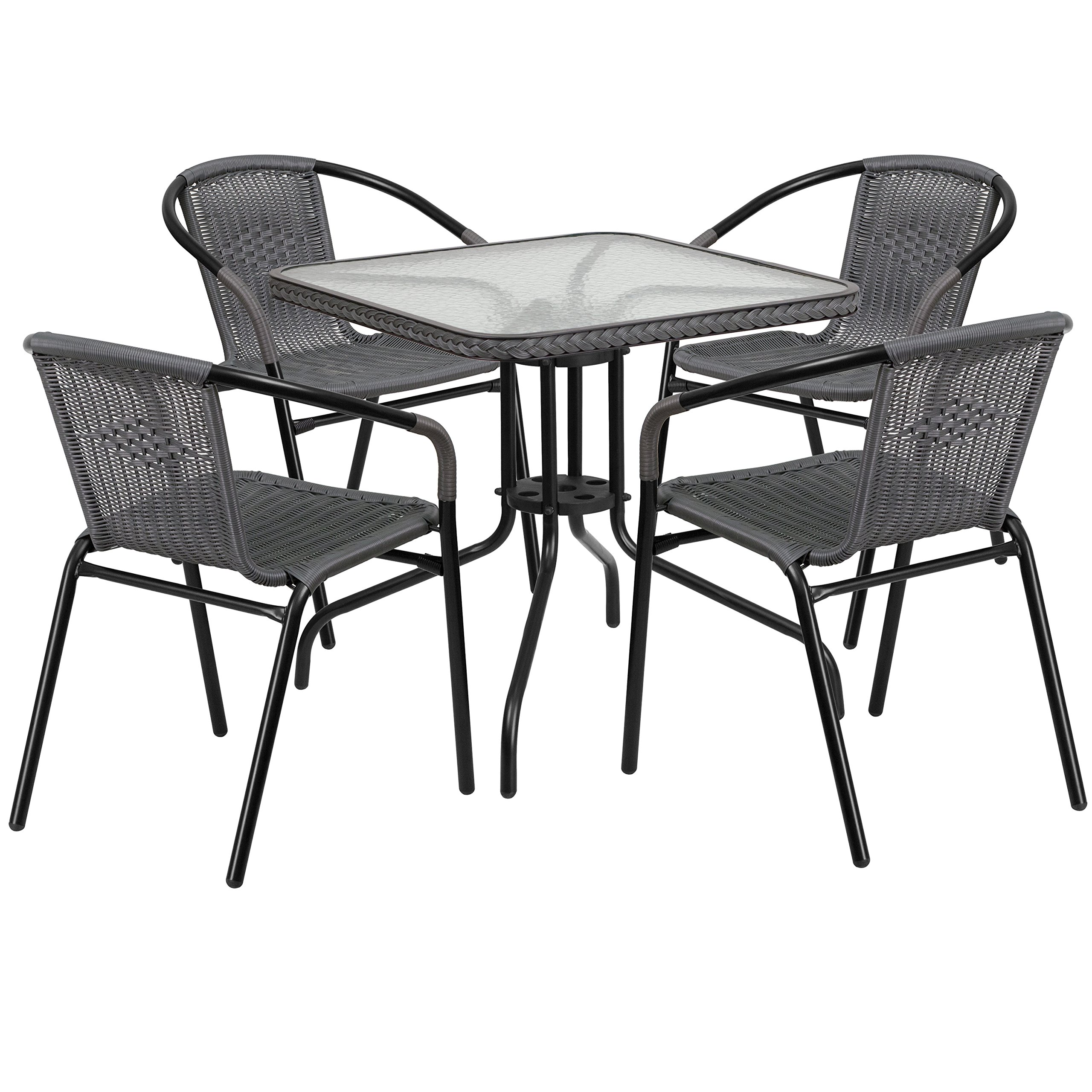 Flash Furniture 28'' Square Glass Metal Table with Gray Rattan Edging and 4 Gray Rattan Stack Chairs by Flash Furniture