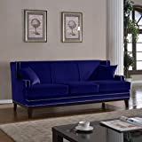 Classic Traditional Soft Velvet Sofa with Nailhead Trim Details Color Grey, Blue (Blue)