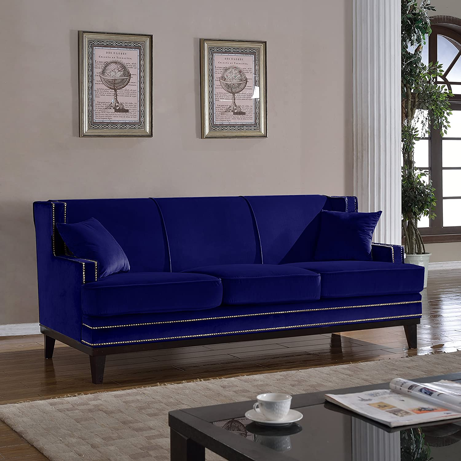 Amazon Modern Velvet Sofa Nailhead Trim Kitchen & Dining