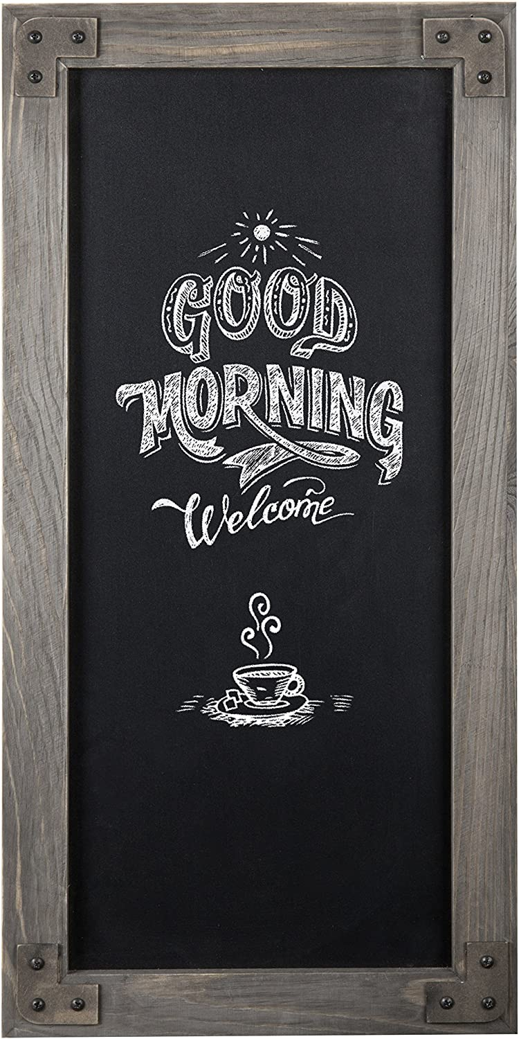 MyGift Rustic 25-Inch Wall-Mounted Chalkboard Sign with Gray Wood Frame