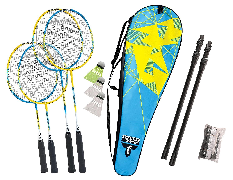 TALBOT TORRO Family Set 2 Junior- Rackets 53cm 2 Adult Rackets 3 Shuttles adjustable Net Post Set