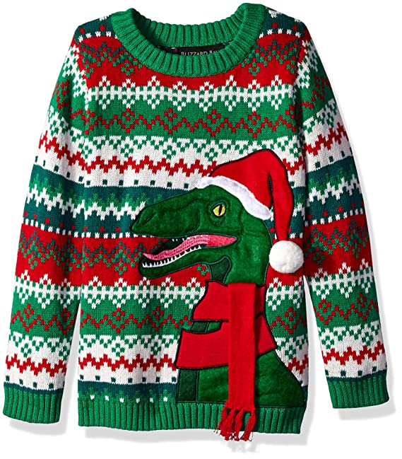 44f320b98 Blizzard Bay Boys  Ugly Christmas Raptor with Santa Hat Sweater  Amazon.ca   Clothing   Accessories