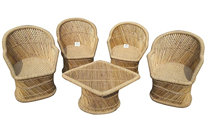Ecowoodies Arbutus Garden Chair Outdoor Furniture Patio Indoor Outdoor Chair Table Set (4+1)