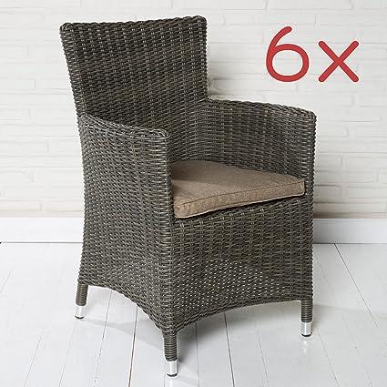 6 jardín sillas de jardín sillones de colour marrón Braid ...